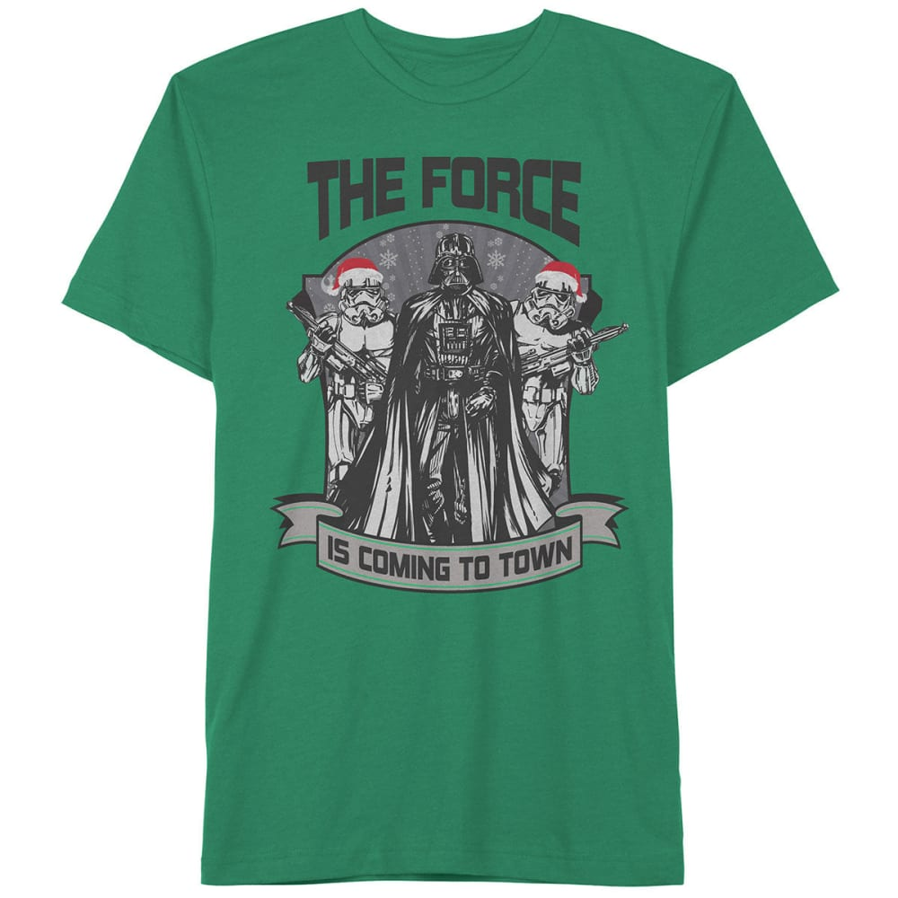 HYBRID Guys' Star Wars Force in Town Short-Sleeve Christmas Tee - KELLY GREEN