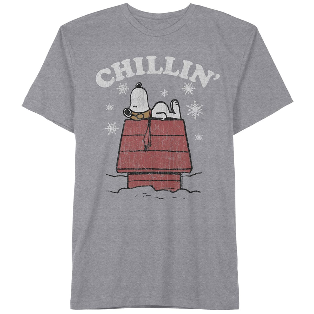 HYBRID Guys' Snoopy Chillin' Short-Sleeve Christmas Tee - HEATHER GREY