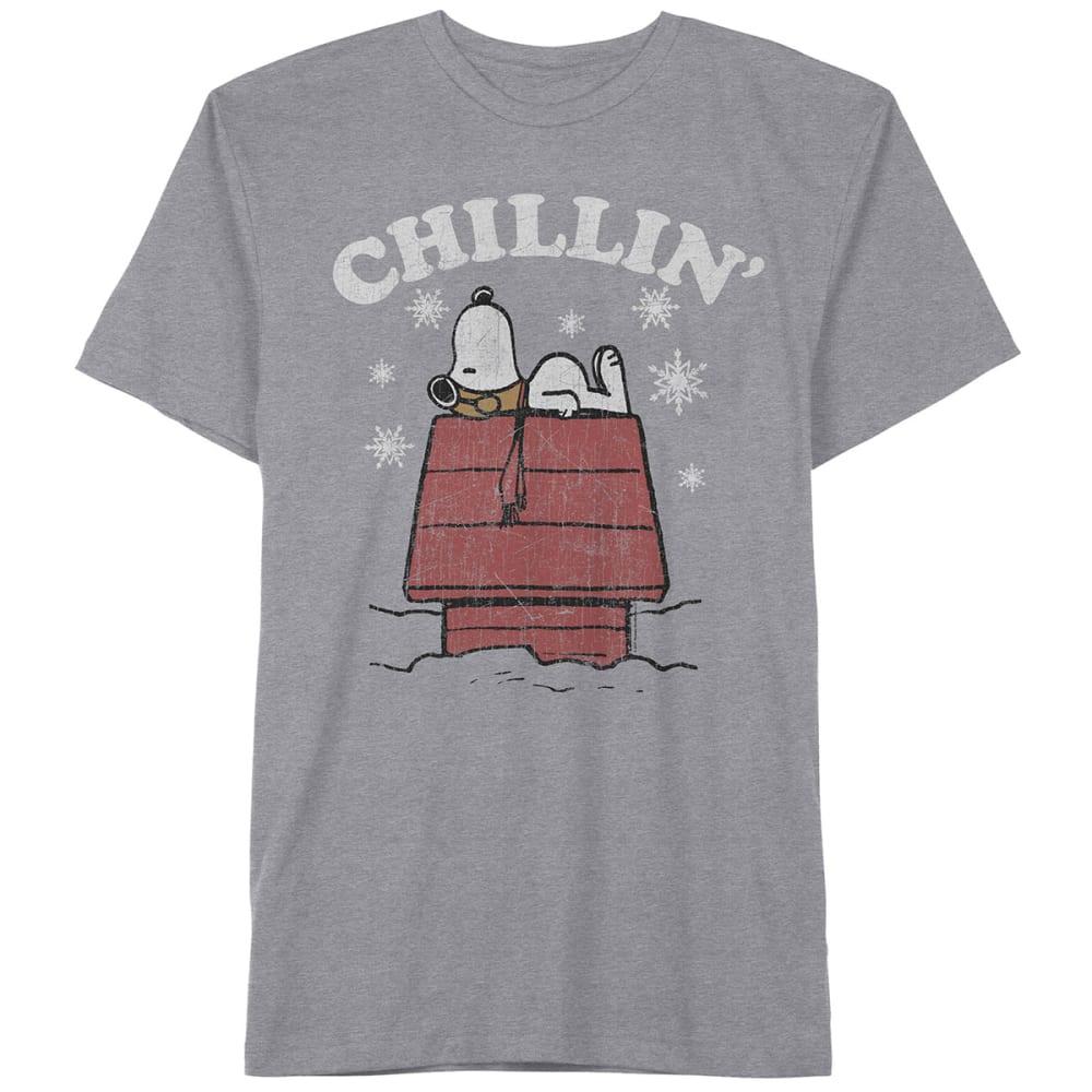 HYBRID Guys' Snoopy Chillin' Short-Sleeve Christmas Tee - HEATHER GREY