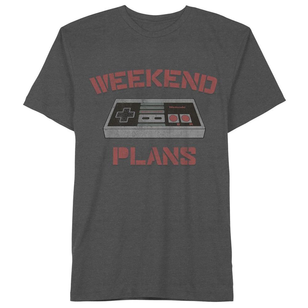 HYBRID Big Boys' Nintendo Weekend Plans Short-Sleeve Tee - BLACK