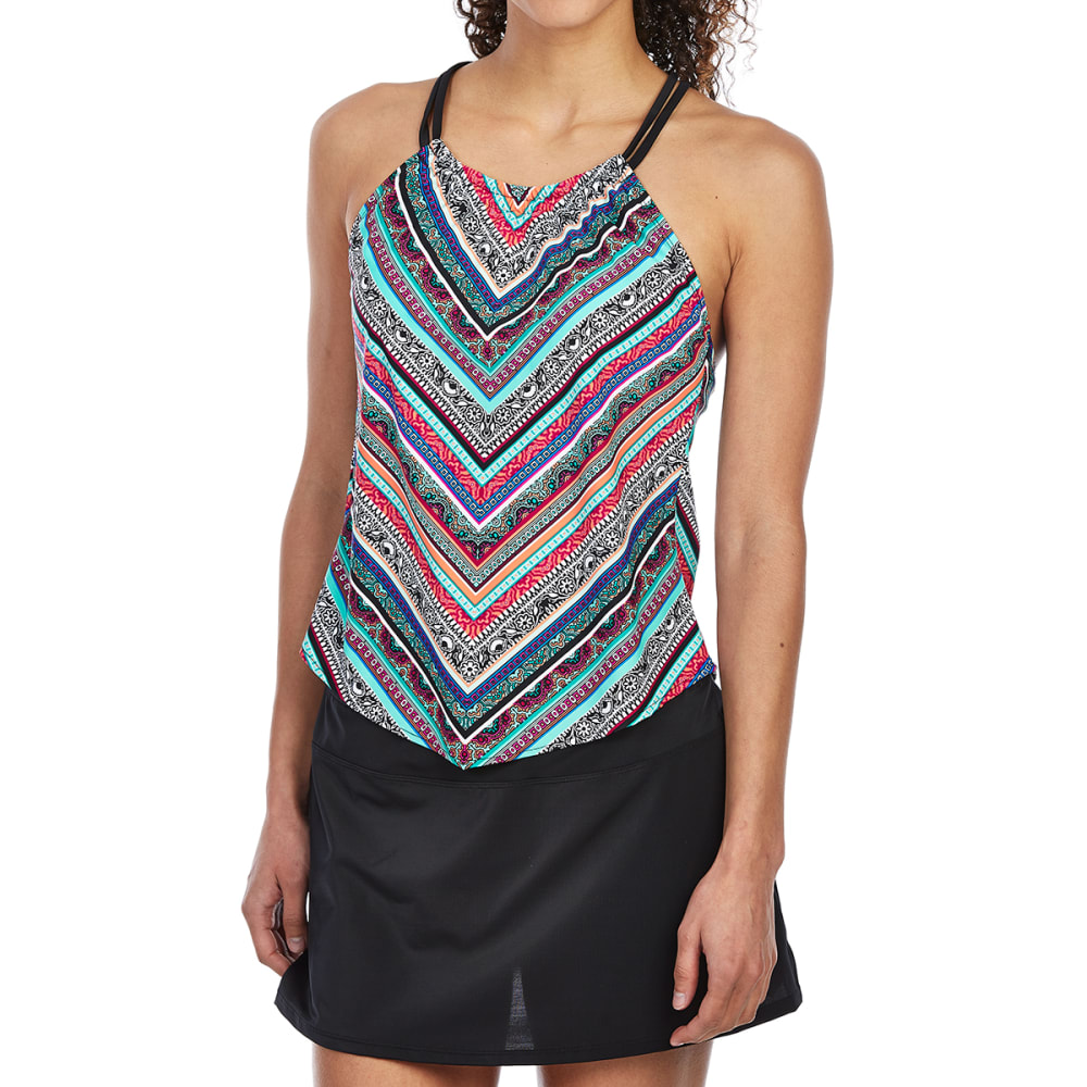 JANTZEN Women's Chevron High-Neck Tankini Set - 471-OASIS