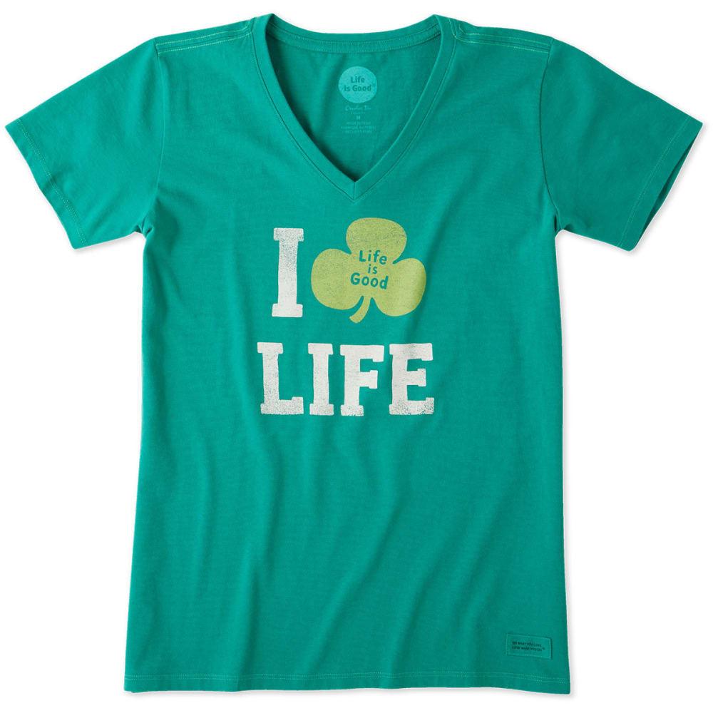 LIFE IS GOOD Women's Clover Life Crusher Vee Neck Tee - JUNGLE GREEN