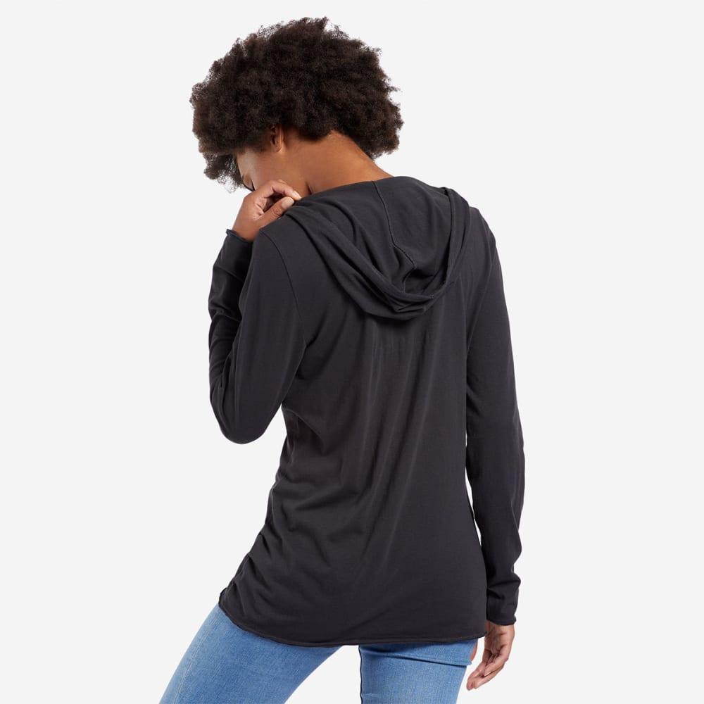 LIFE IS GOOD Women's Heart Love Hooded Smooth Long-Sleeve Tee - NIGHT BLACK