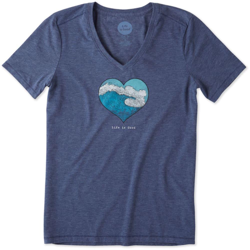 LIFE IS GOOD Women's Ocean Heart Wave Cool Vee Neck Collar Shirt - DARKEST BLUE
