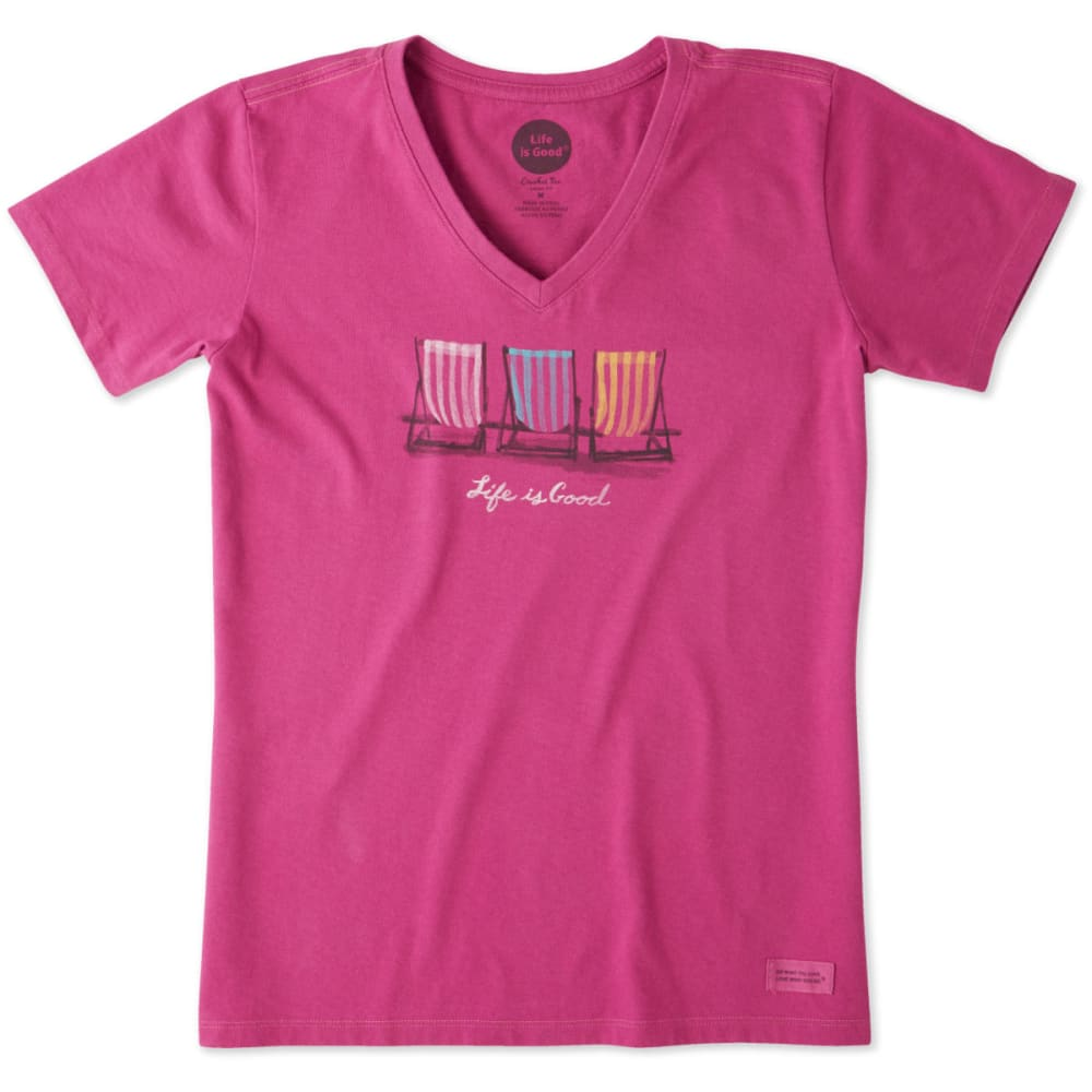 LIFE IS GOOD Women's Colorful Gathering Crusher Vee Neck Collar Shirt - SASSY MAGENTA
