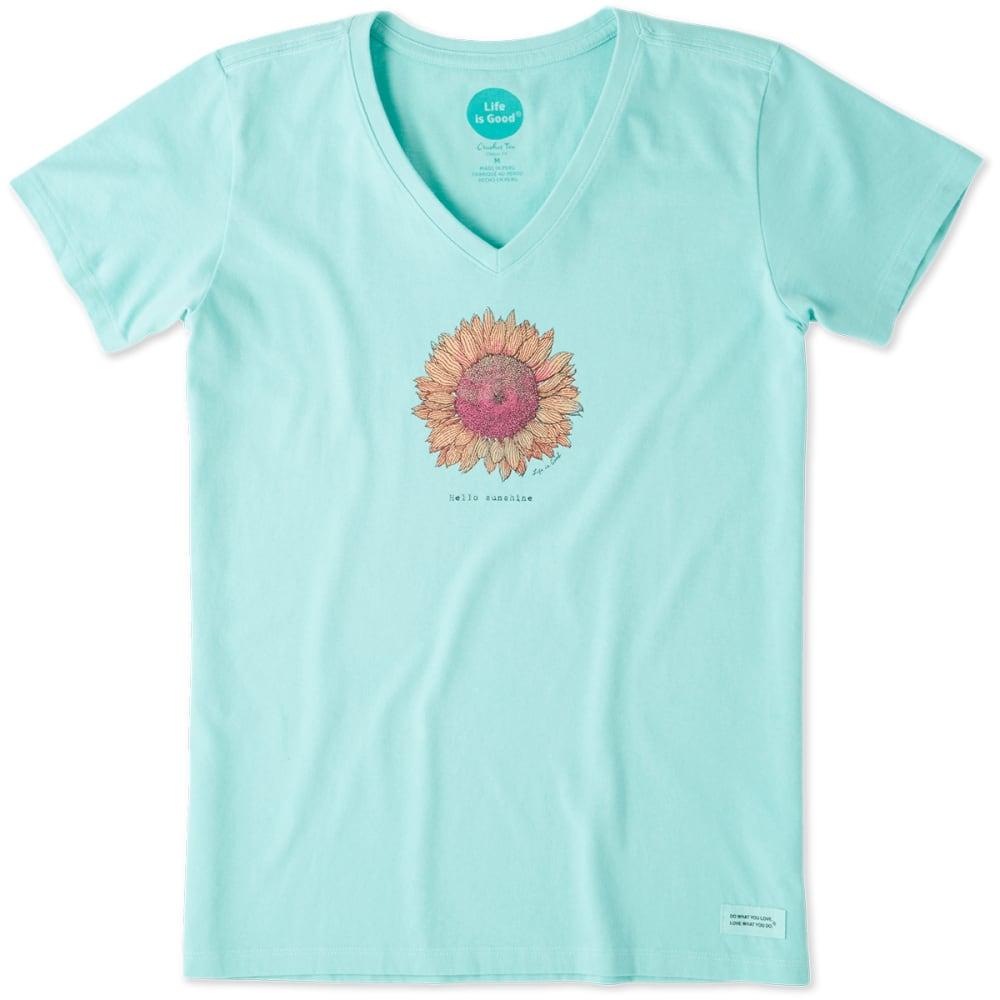 LIFE IS GOOD Women's Hello Sunshine Sunflower Crusher V-Neck Short-Sleeve Tee - COOL AQUA