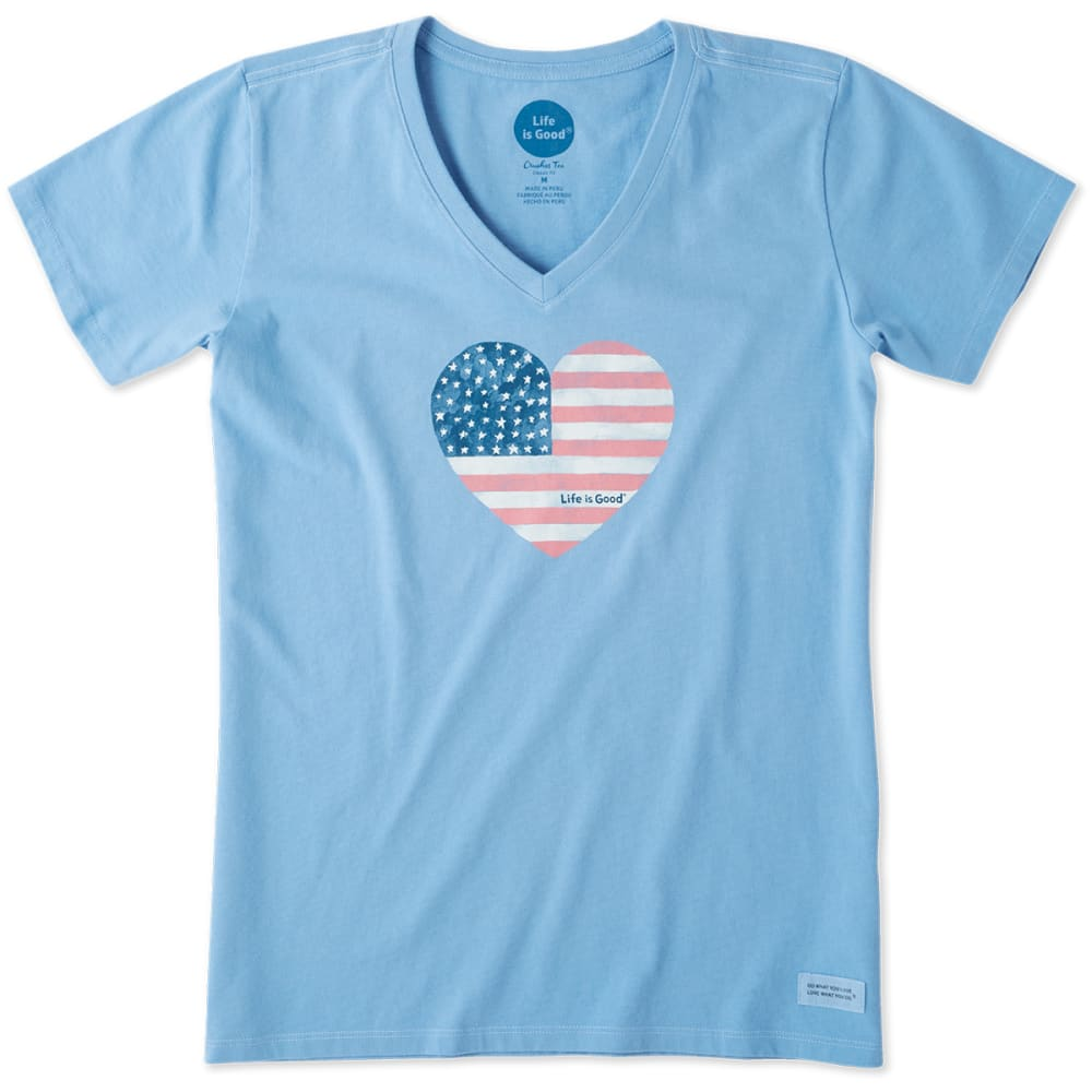 LIFE IS GOOD Women's Americana Love Crusher V-Neck Short-Sleeve Tee - POWDER BLUE