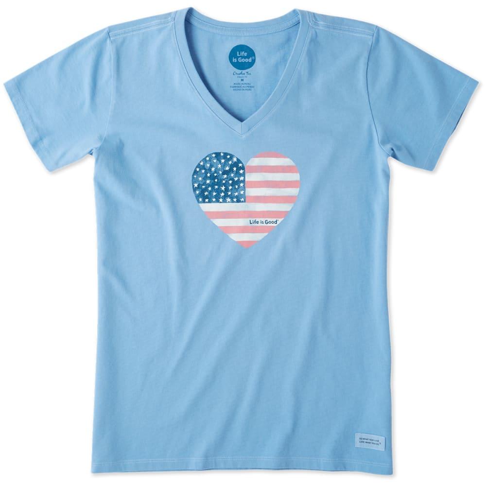 LIFE IS GOOD Women's Americana Love Crusher V-Neck Short-Sleeve Tee - POWDER BLUE