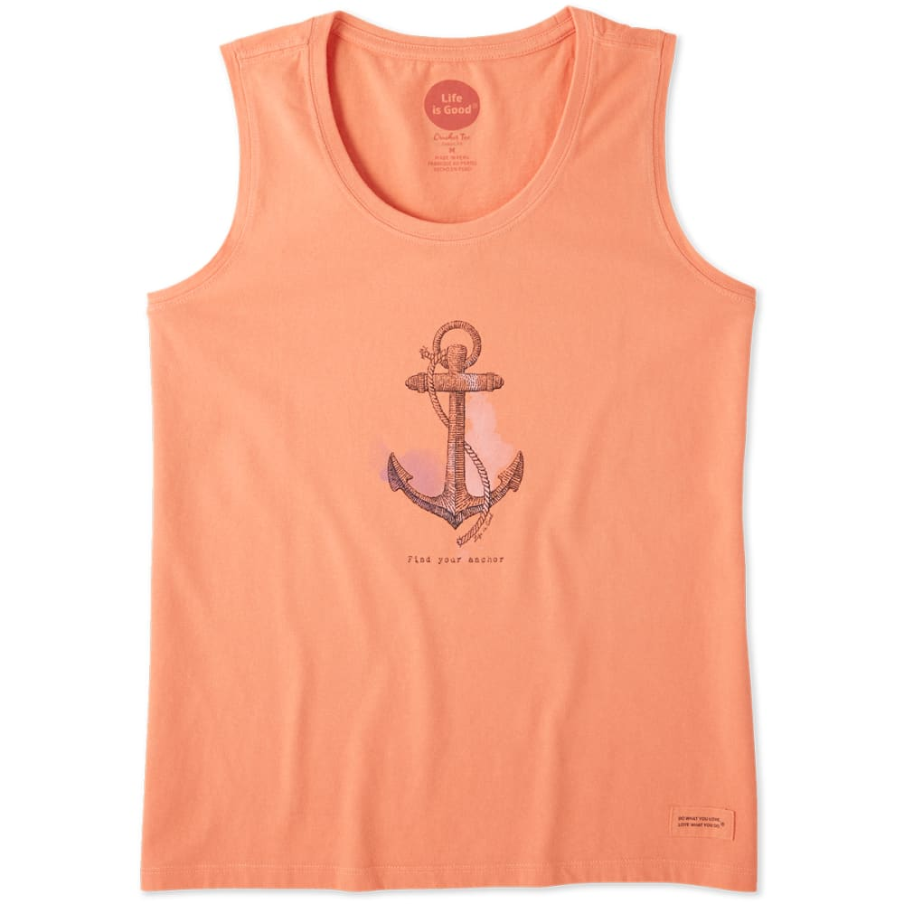 LIFE IS GOOD Women's Find Your Anchor Crusher Scoop Neck Tank Top - FRESH CORAL