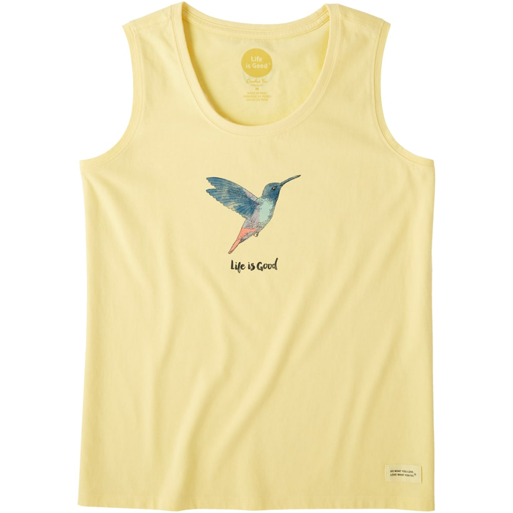 LIFE IS GOOD Women's Beautiful Hummingbird Crusher Scoop Neck Tank Top - HAPPY YELLOW