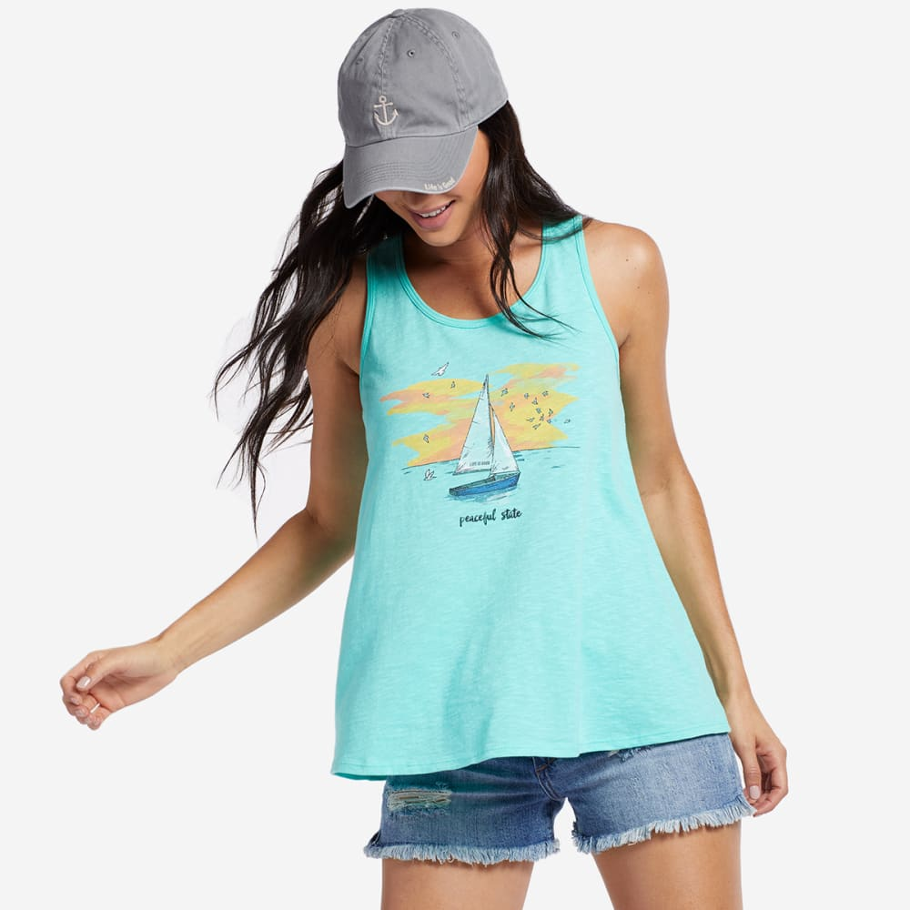 LIFE IS GOOD Women's Peaceful State Sailboat Breezy Scoop Neck Tank Top - COOL AQUA