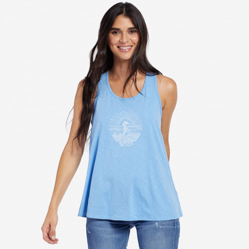 LIFE IS GOOD Women's Illuminated Seahorse Breezy Scoop Neck Tank Top - POWDER BLUE