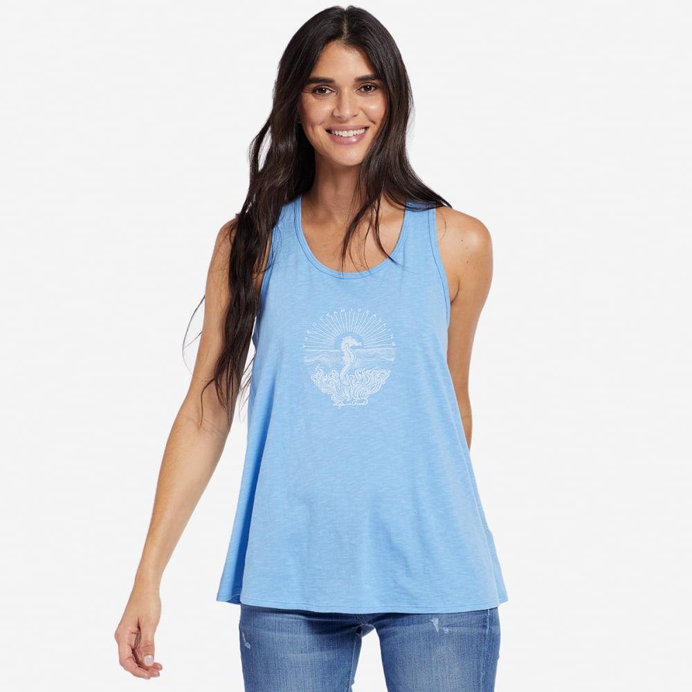 LIFE IS GOOD Women's Illuminated Seahorse Breezy Scoop Neck Tank Top - POWDER BLUE