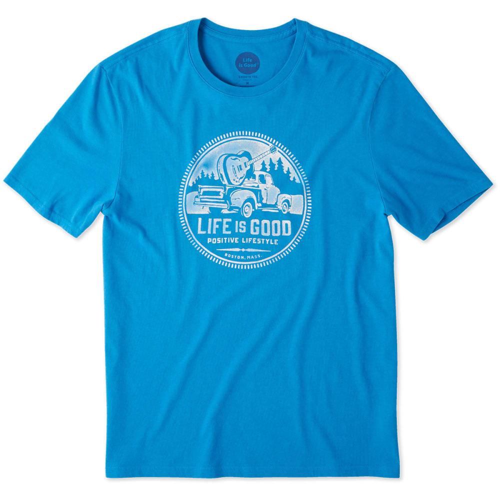 LIFE IS GOOD Men's Positive Lifestyle Truck Smooth Short-Sleeve Tee - MEDIUM BLUE