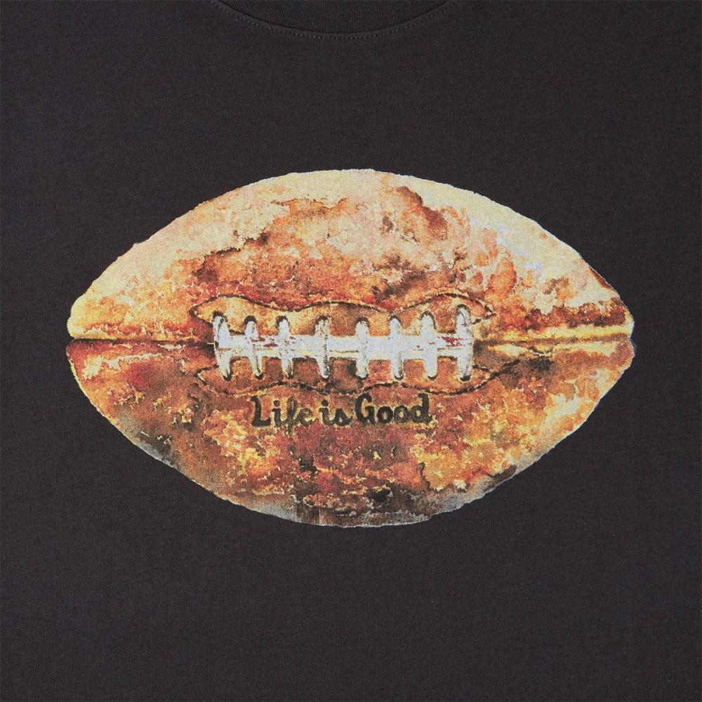 LIFE IS GOOD Men's Vintage Football Smooth Short-Sleeve Tee - BLACK