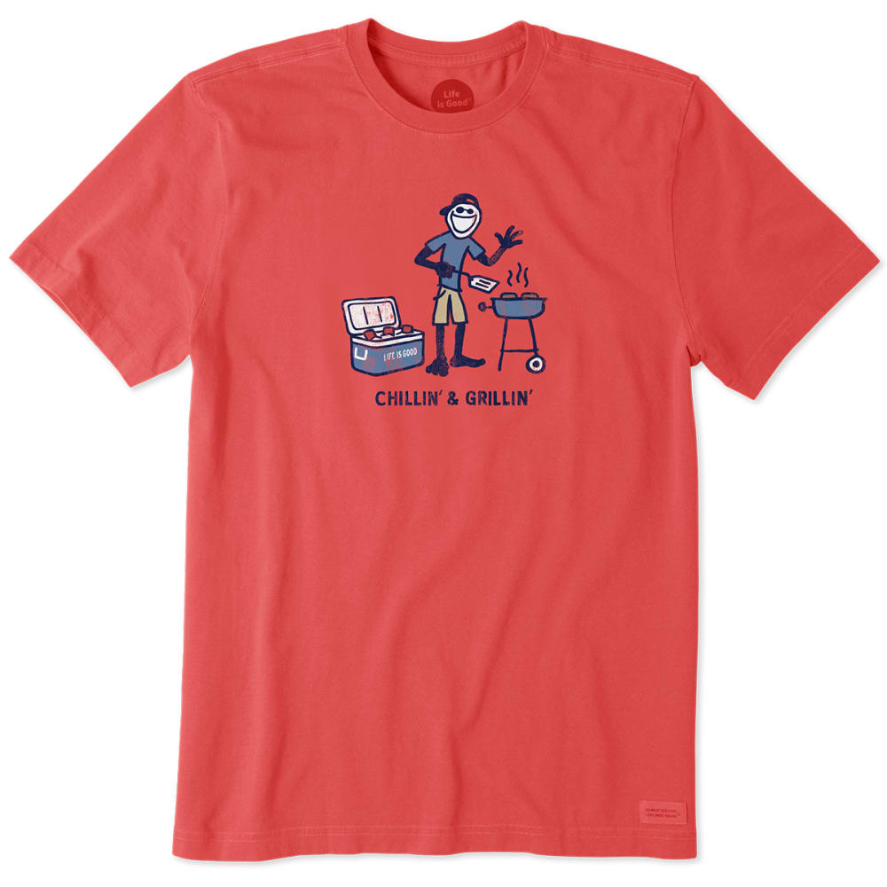 LIFE IS GOOD Men's Chillin' and Grillin' Crusher Short-Sleeve Tee - RED