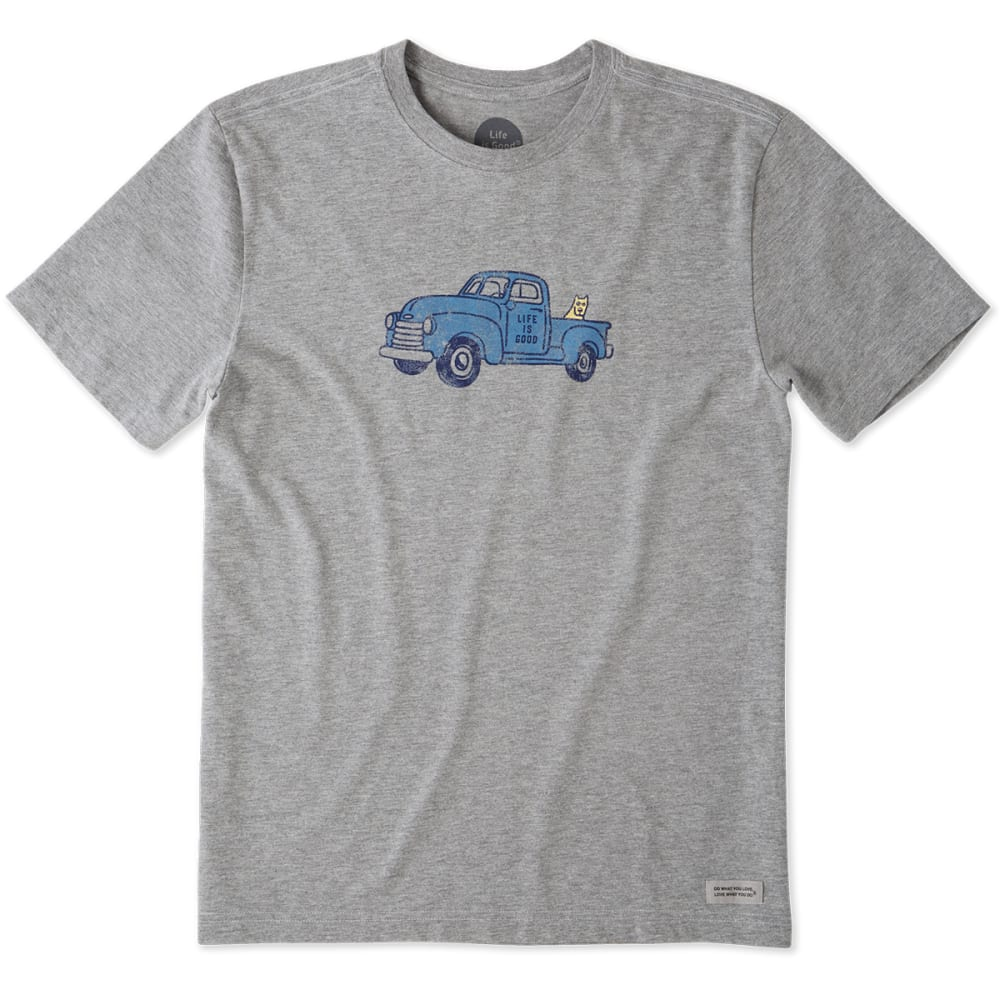 LIFE IS GOOD Men's Classic Truck Crusher Short-Sleeve Tee - GREY