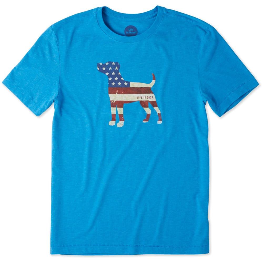 Life Is Good Men's Americana Dog Cool Tee - Blue, M