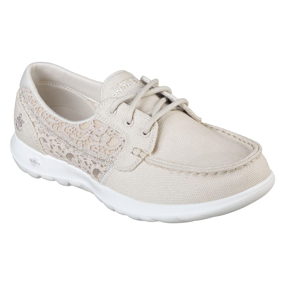 SKECHERS Women's GOwalk Lite – Mira Boat Shoes - NATURAL-NAT