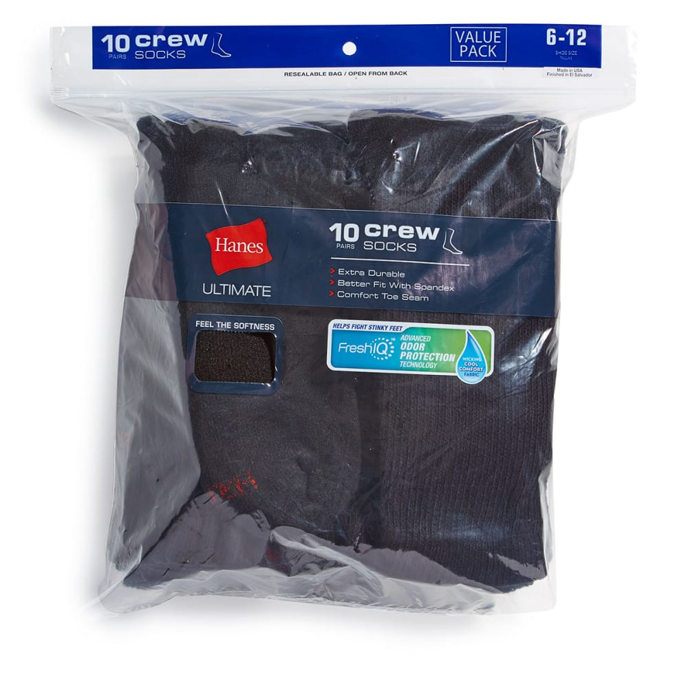 HANES Men's Ultimate Crew Socks, 10-Pack - BLACK