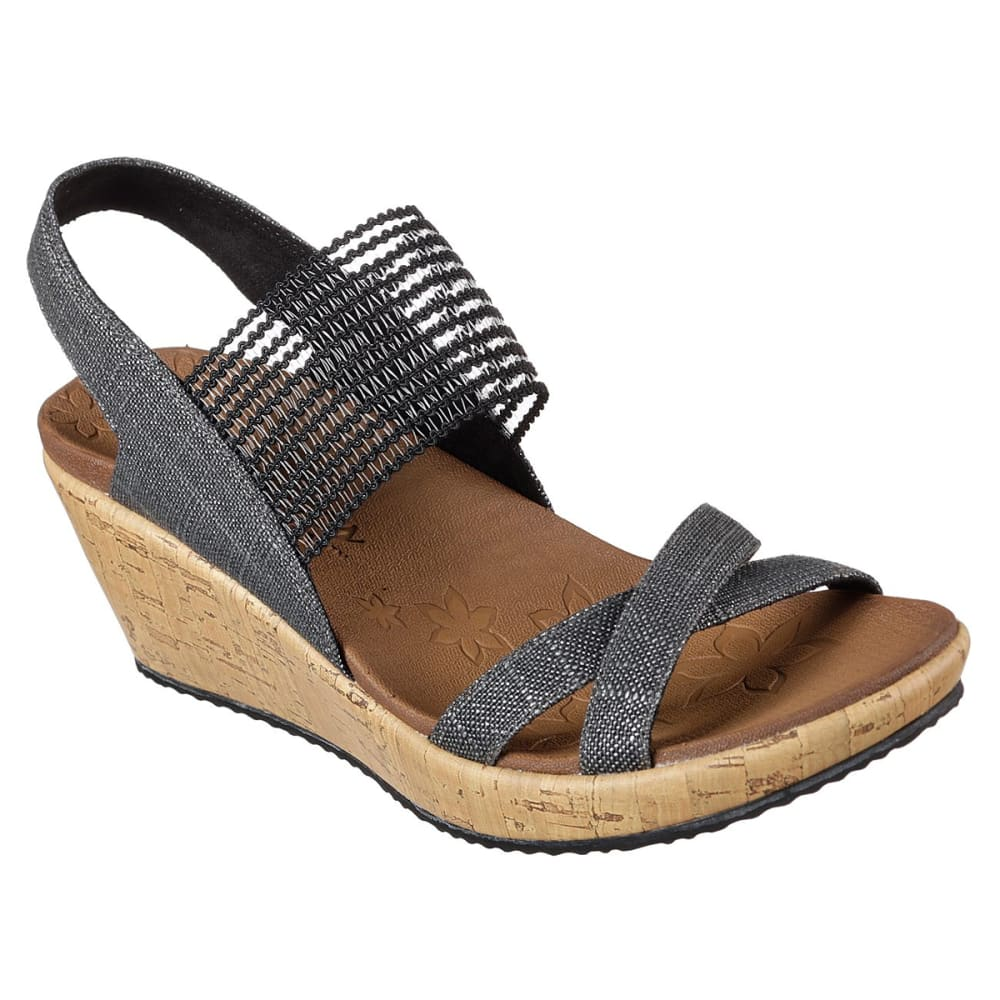 SKECHERS Women's Beverlee - High Tea Wedge Sandals - BLACK-BLK