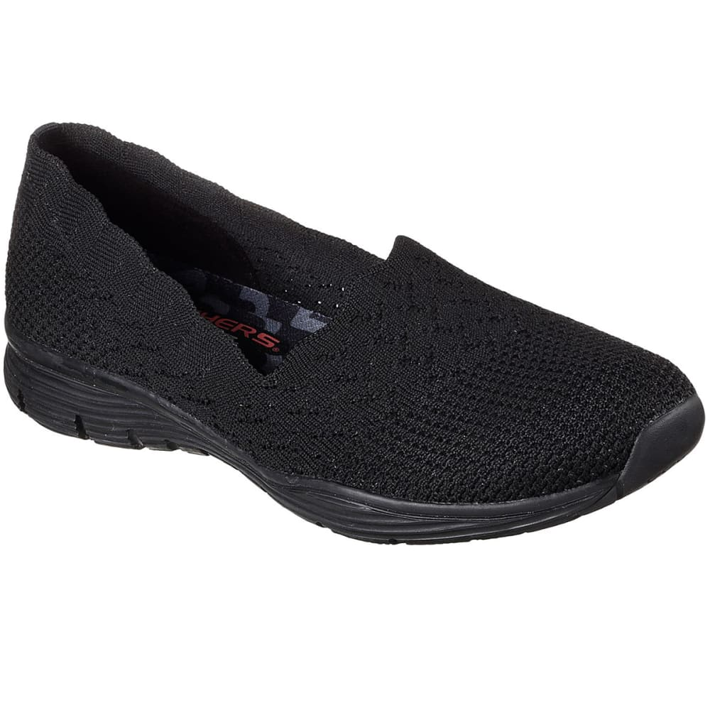 Skechers Women's Seager - Stat Casual Slip-On Shoes - Black, 6