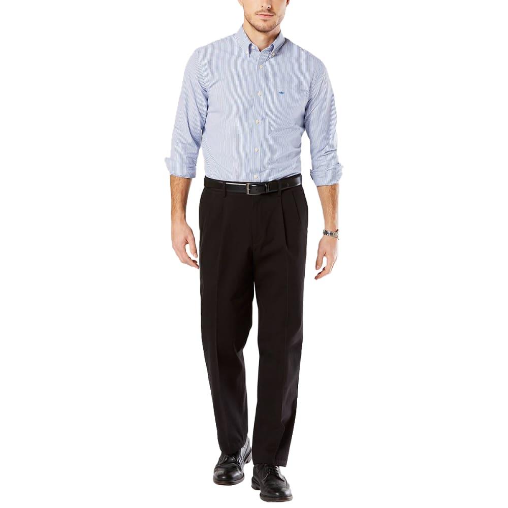 DOCKERS Men's Relaxed Fit Pleated Signature Khaki Pants - BLACK 0004