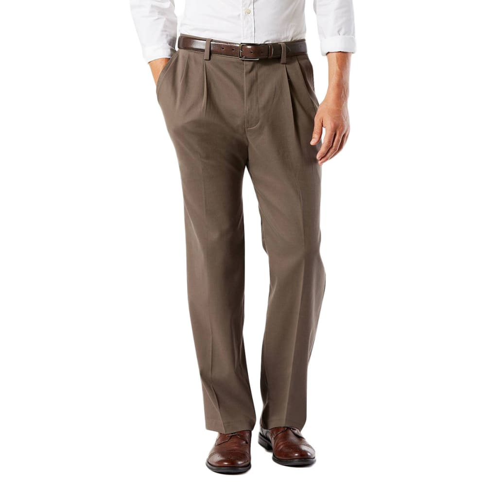 DOCKERS Men's Classic Fit Easy Khaki Pleated Pants - DARK PEBBLE 0002
