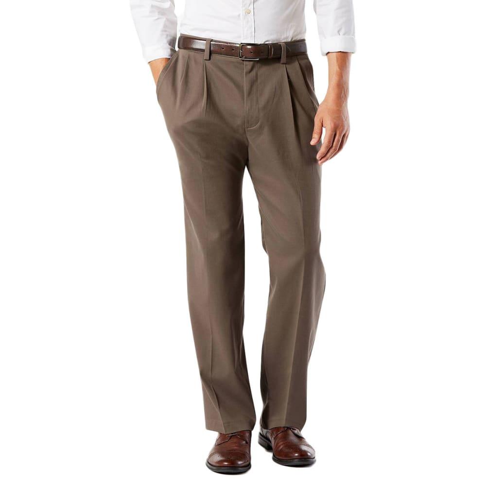 DOCKERS Men's Classic Fit Easy Khaki Pleated Pants - DARK PEBBLE 0002