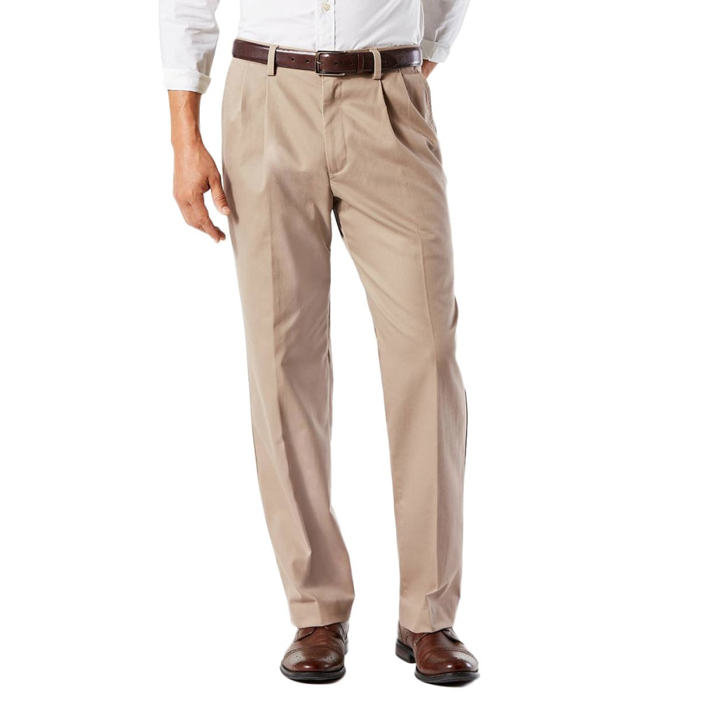 DOCKERS Men's Classic Fit Easy Khaki Pleated Pants - TIMBERWOLF 0001