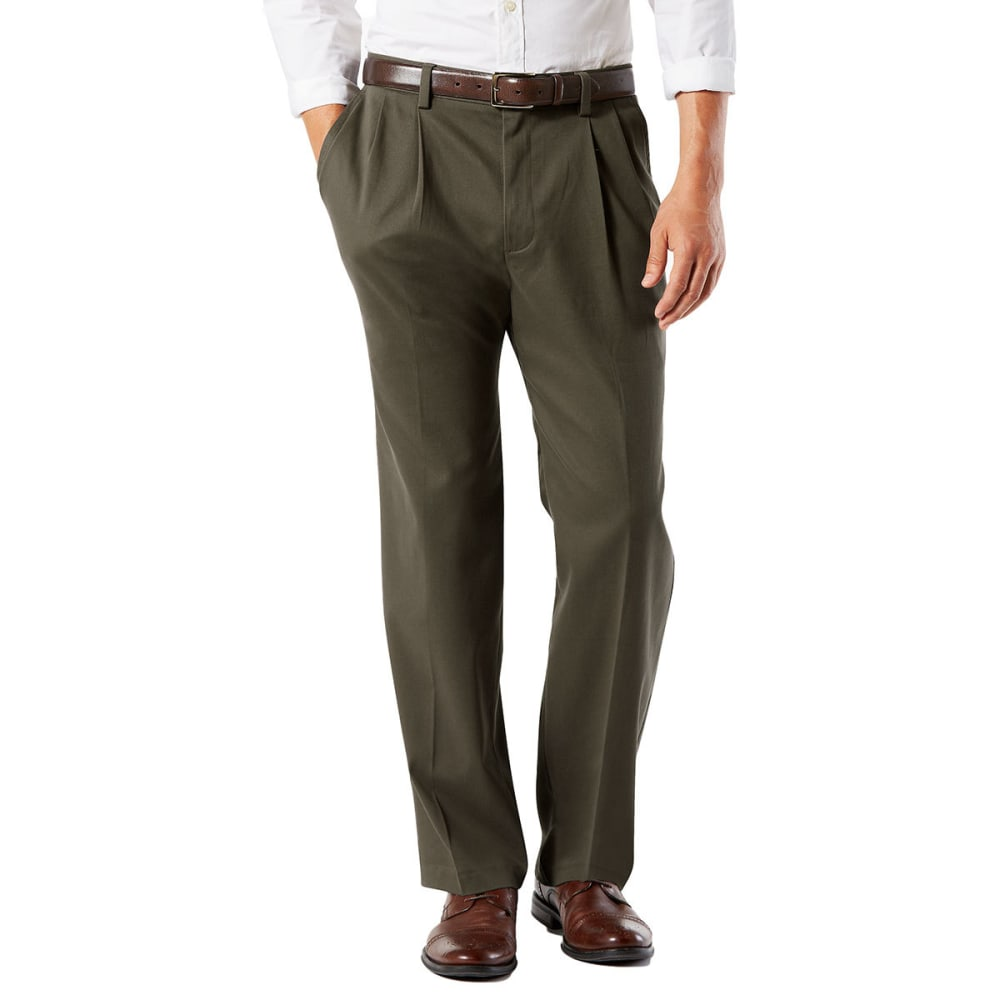 DOCKERS Men's Classic Fit Easy Khaki Pleated Pants - OLIVE GROVE 0005