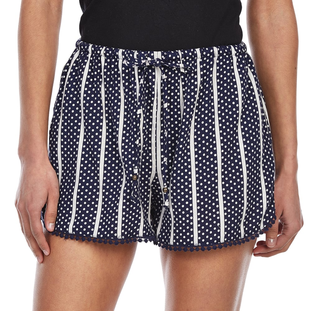 ANGIE Juniors' Dolphin Trim Shorts - W602 NAVY DOT