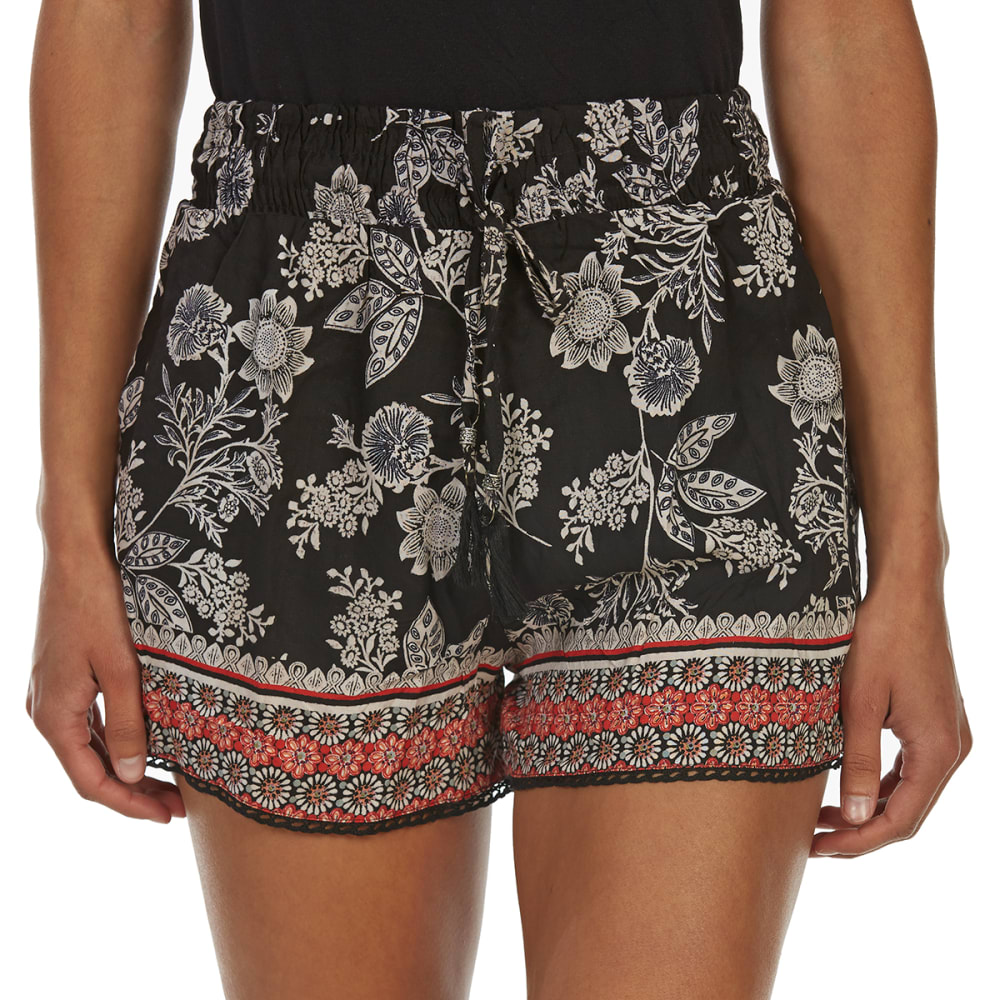 ANGIE Juniors' Tassel-Tie Shorts with Crochet Trim - A594 BLACK