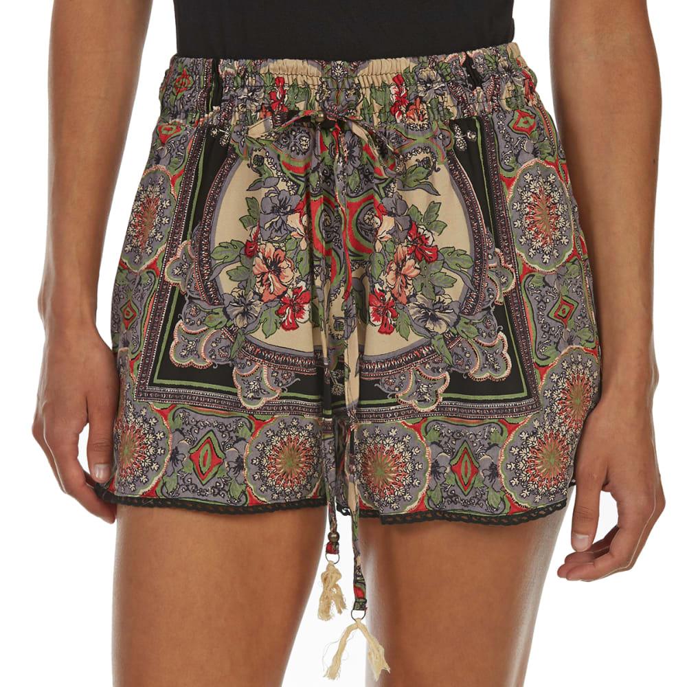ANGIE Juniors' Tassel-Tie Shorts with Crochet Trim - FM51 BLACK