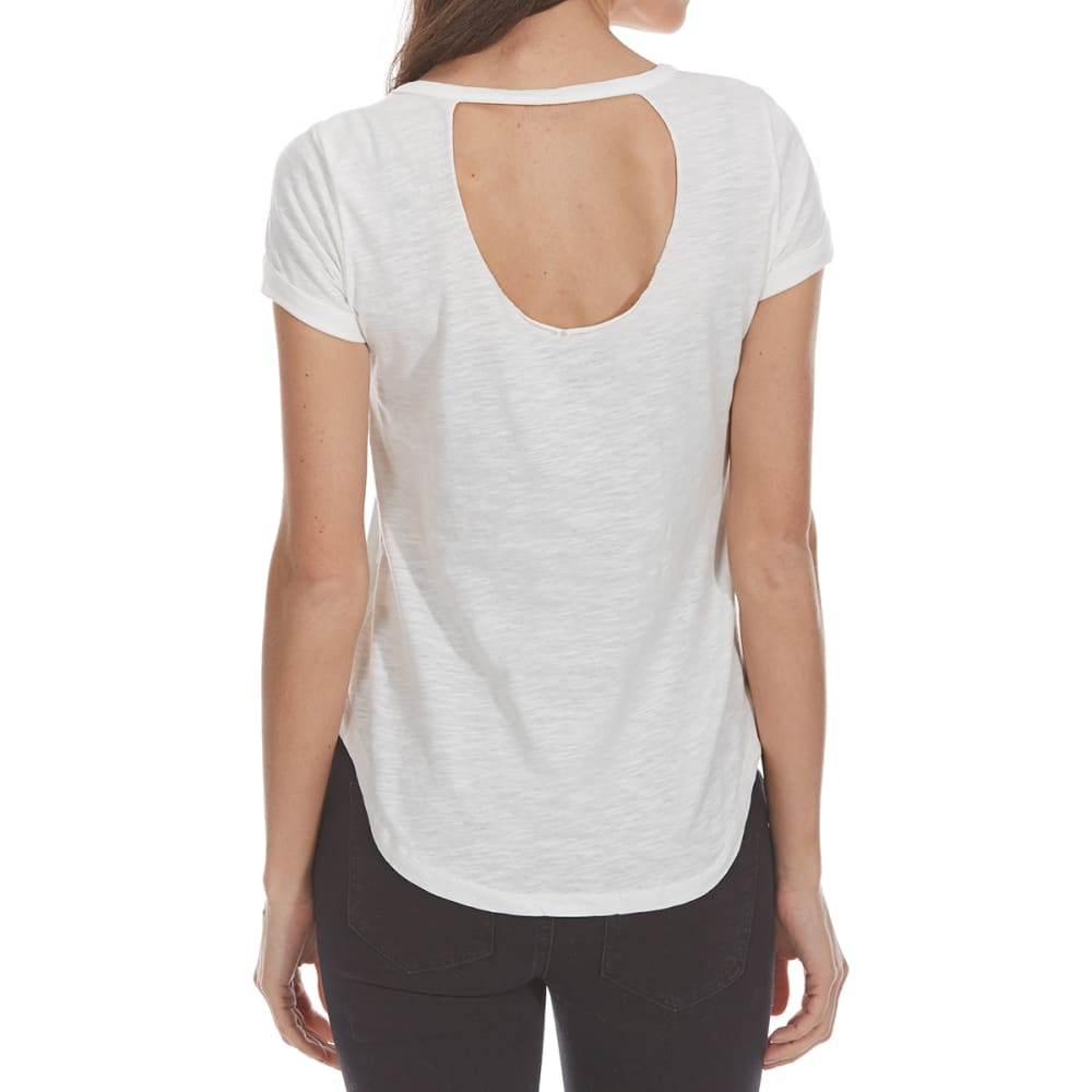 ALMOST FAMOUS Juniors' Enjoy Little Things Embellished Short-Sleeve Tee - WHITE