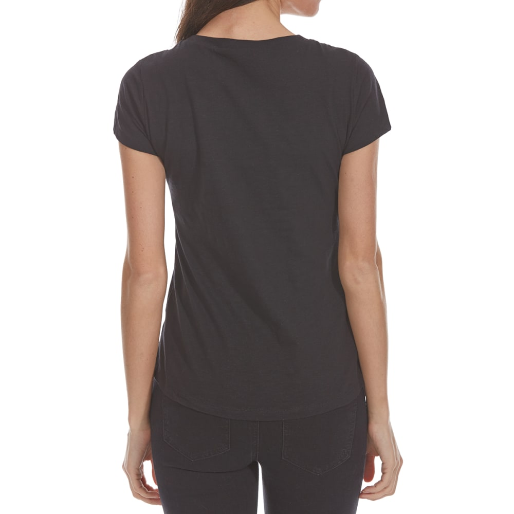 ALMOST FAMOUS Juniors' Love Embellished Short-Sleeve Tee - BLACK