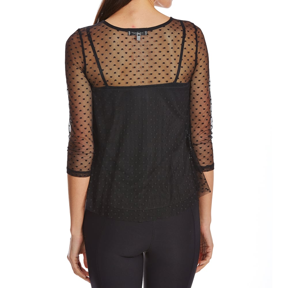 ALMOST FAMOUS Juniors' Embroidered Rose Sweetheart Mesh Long-Sleeve Top - BLACK