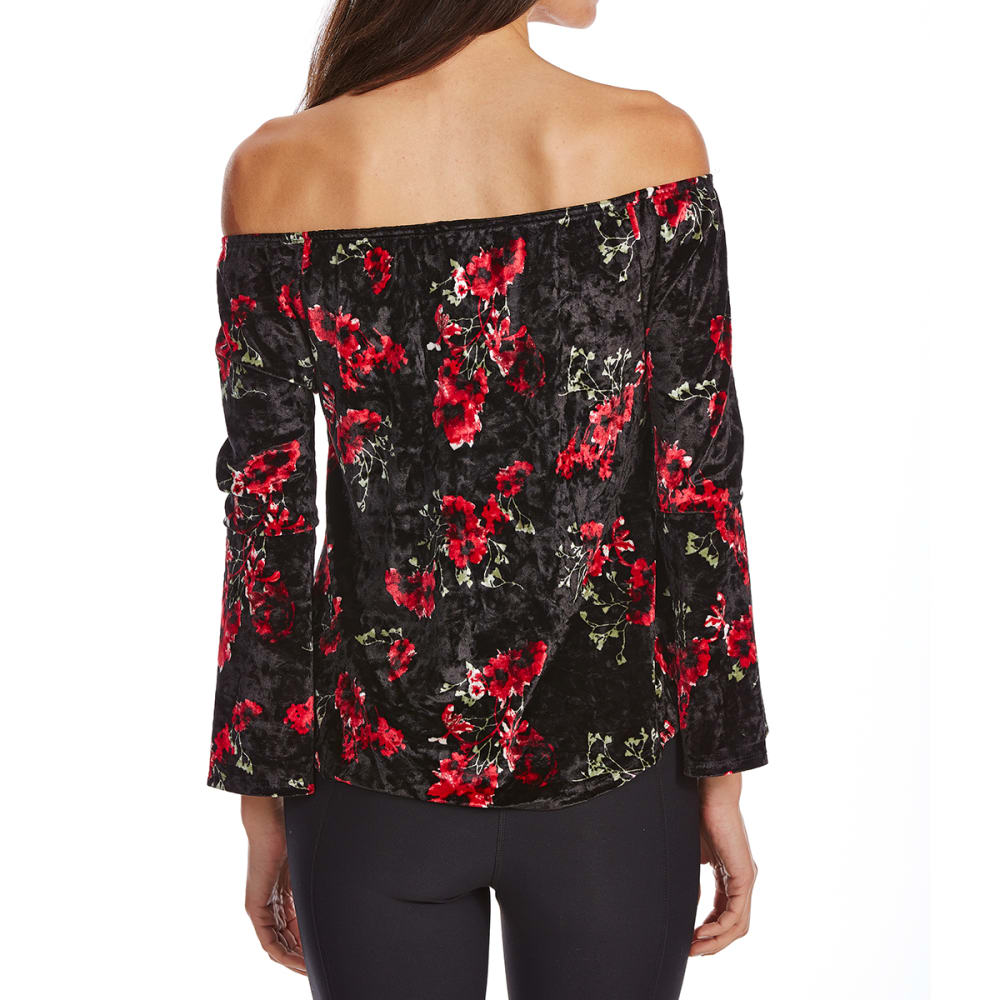 ALMOST FAMOUS Juniors' Floral Off-the-Shoulder Velvet Top - BLACK COMBO