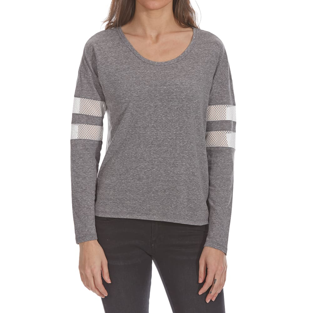ALMOST FAMOUS Juniors' Open-Back Mesh Insert Long-Sleeve Tee - HEATHER GREY