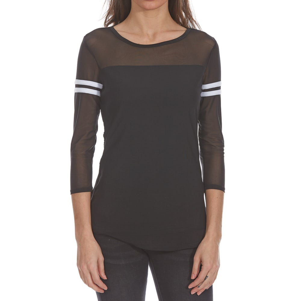 ALMOST FAMOUS Juniors' Mesh Tunic Long-Sleeve Top - BLACK