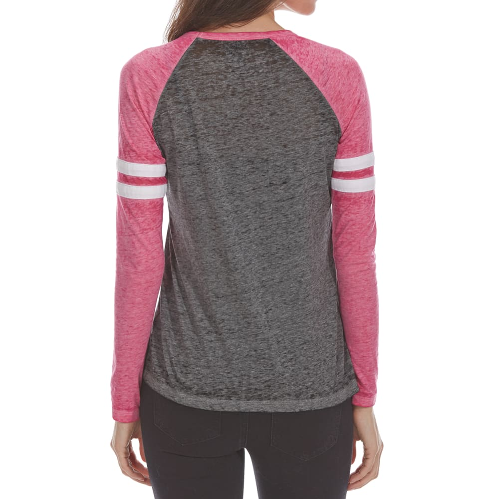 ALMOST FAMOUS Juniors' Double Cage Front Long-Sleeve Baseball Tee - FUCHSIA/ASH