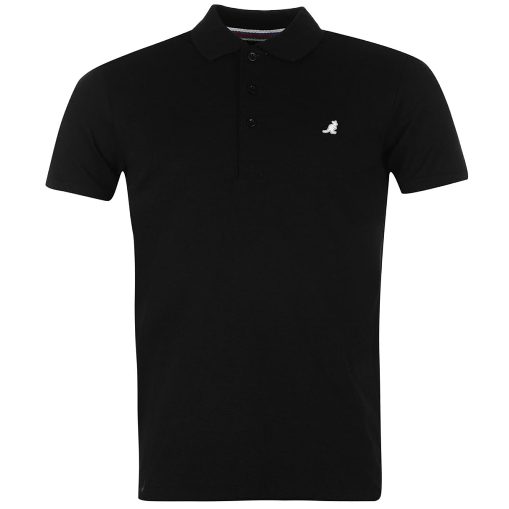 KANGOL Men's Slim Fit Short-Sleeve Polo Shirt - BLACK