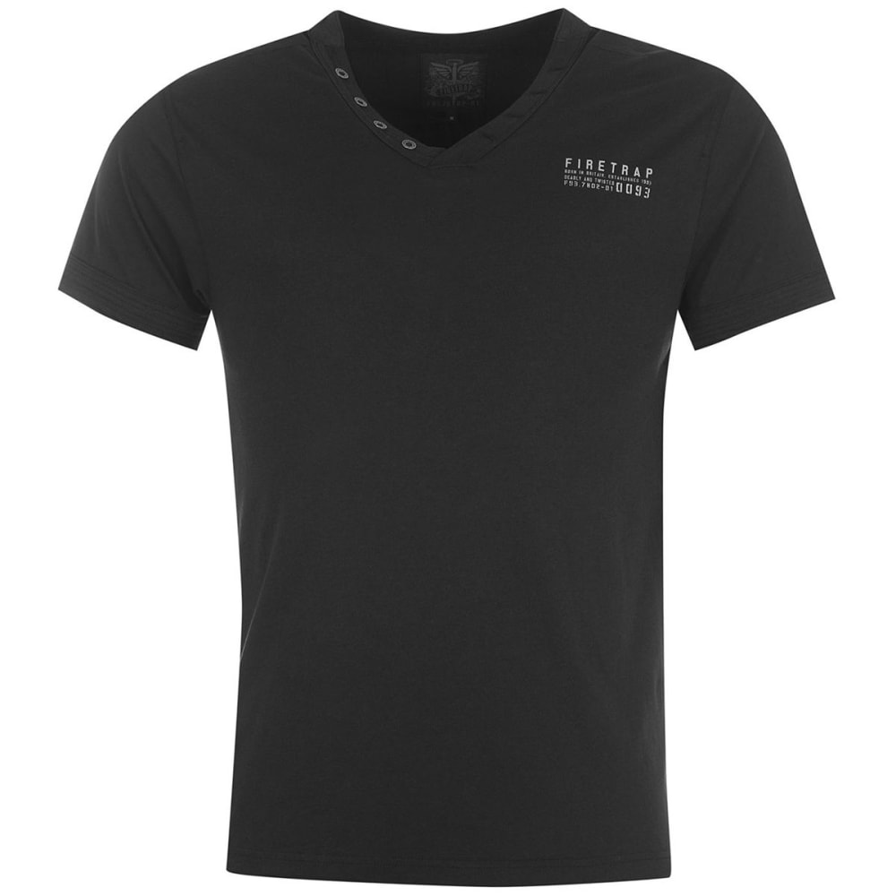 FIRETRAP Men's Striding V-Neck Short-Sleeve Tee - BLACK