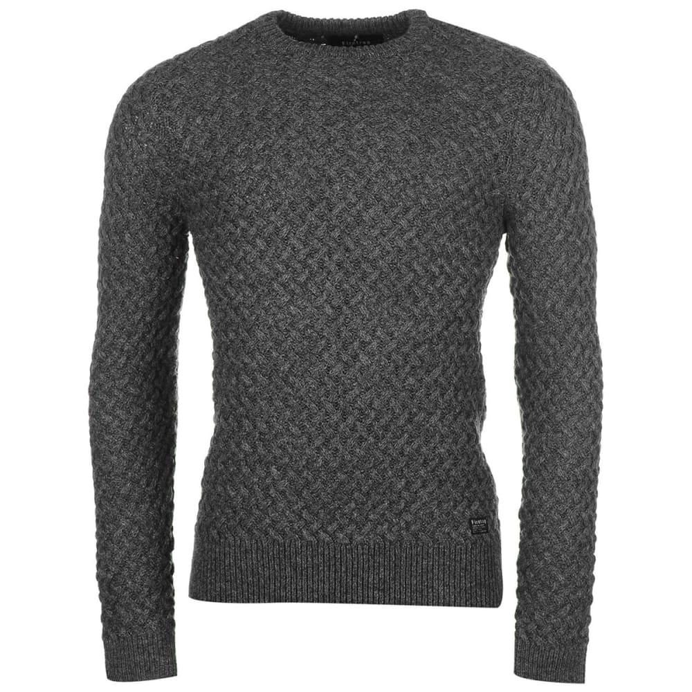 FIRETRAP Men's Texture Knit Long-Sleeve Sweater - CHARCOAL