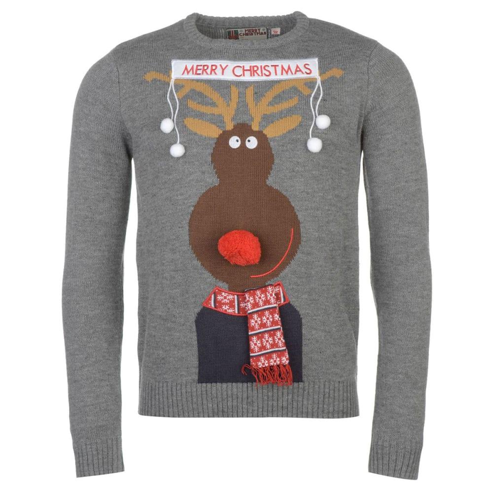 STAR Men's 3D Xmas Knit Long-Sleeve Sweater - Char - Rudolph