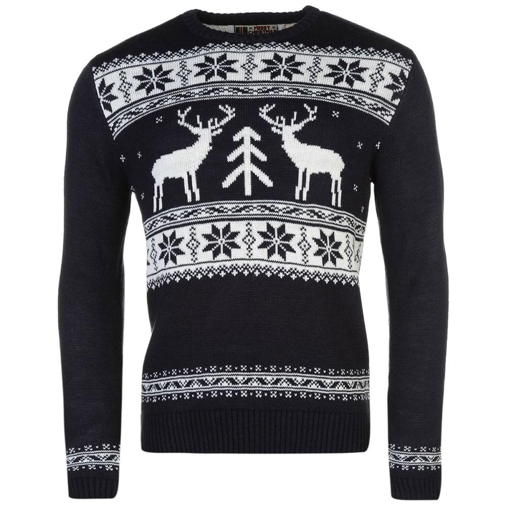 STAR Men's Xmas Fairisle Knit Long-Sleeve Sweater - Navy - Reindeer