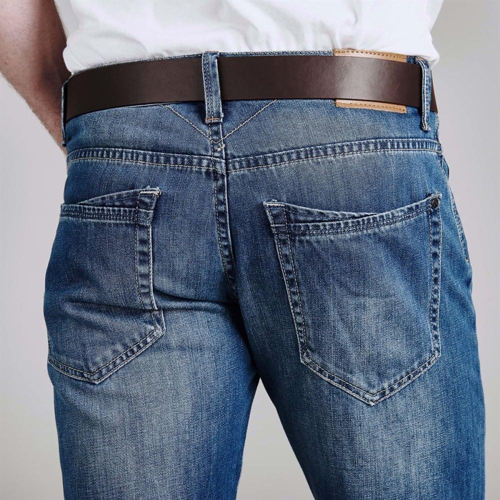 FIRETRAP Men's Leather Belt Jeans - Reg Mid Wash
