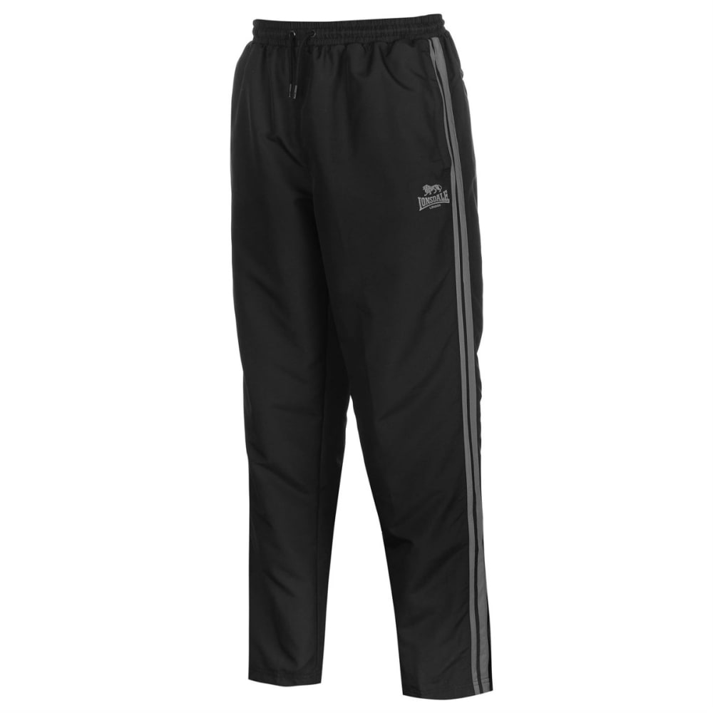 LONSDALE Men's 2-Stripe Open-Hem Woven Pants - BLACK/CHARCOAL