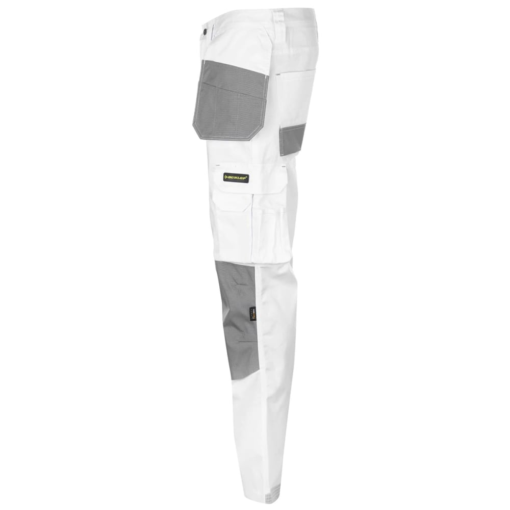 DUNLOP Men's On-Site Work Pants - WHITE/GREY