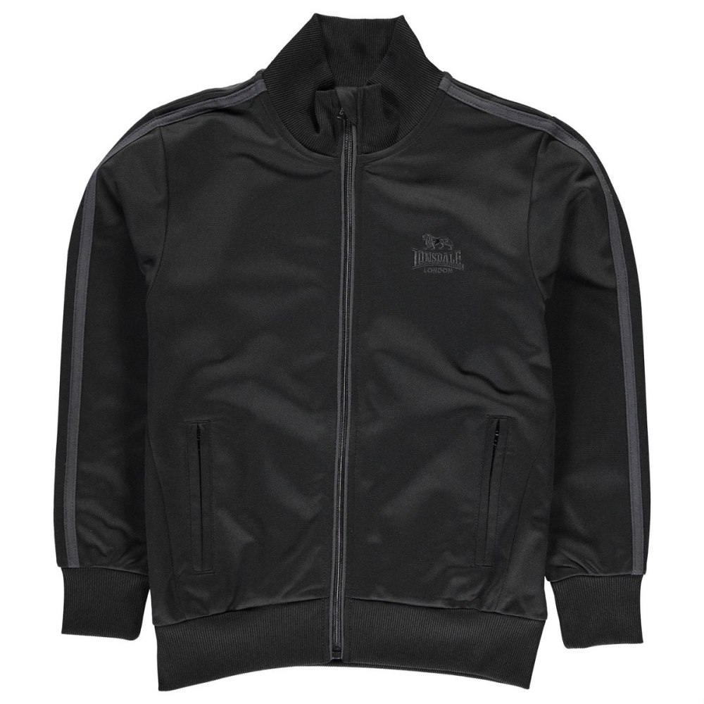 LONSDALE Boys' Track Jacket - BLACK/CHARCOAL